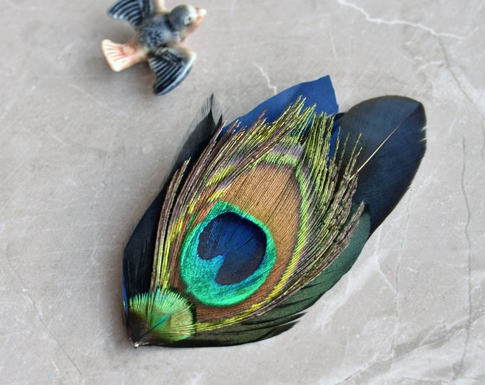 Navy Blue and Gold Peacock Feather Hat Pin No.67