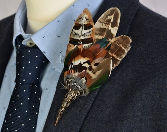 Pheasant and Duck Feather Lapel No.55
