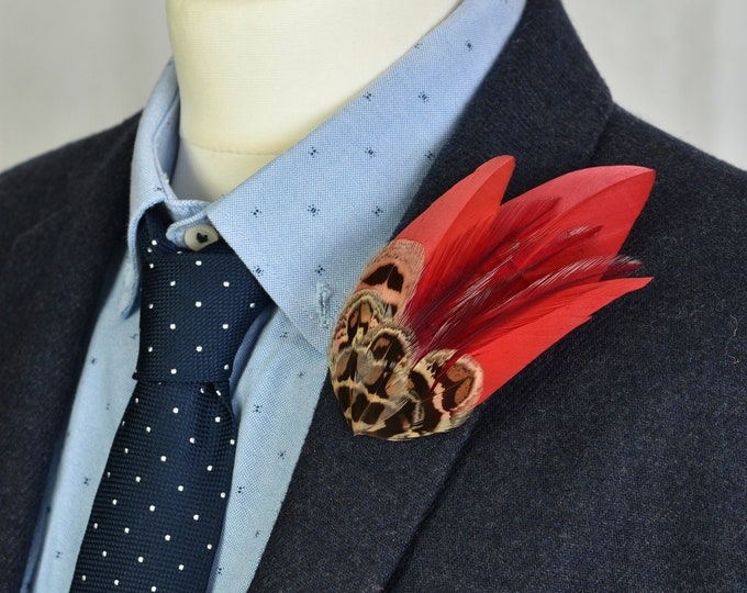 Red and Pheasant Feather Lapel Hat Pin