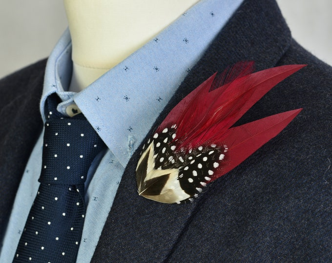 Burgundy and Monochrome Feather Lapel Pin No.52