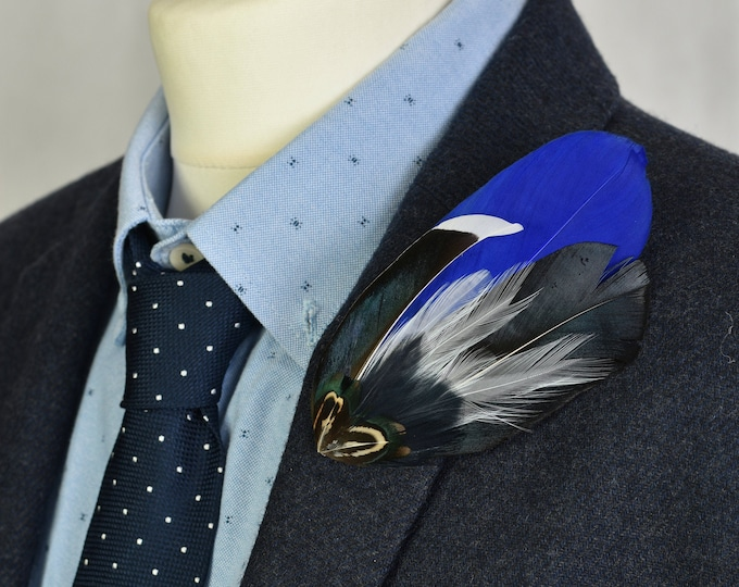 Royal Blue and Navy Feather Lapel Pin / Hat Pin No.65