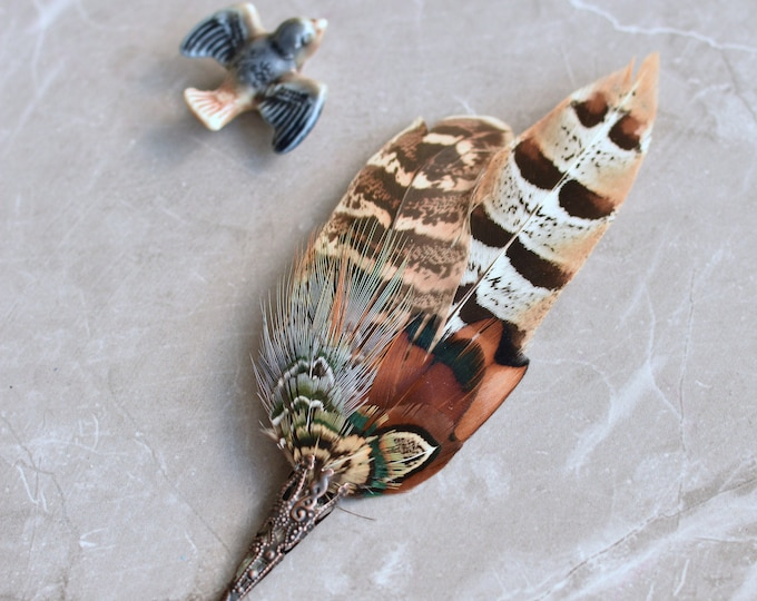 Natural Pheasant Feather Lapel No. 60