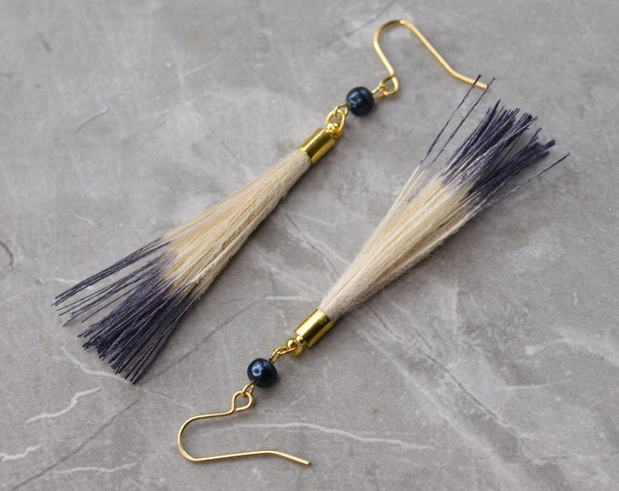 Blue and Ivory Dip Dye Feather Tassel Earrings