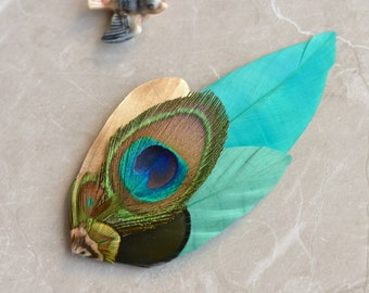Teal and Gold Peacock Feather Lapel Pin No.57