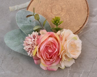 Flower Hair Clip in Peach, Blush Pink and Ivory