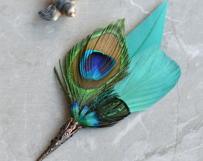 Teal and Peacock Feather Lapel Pin No.71