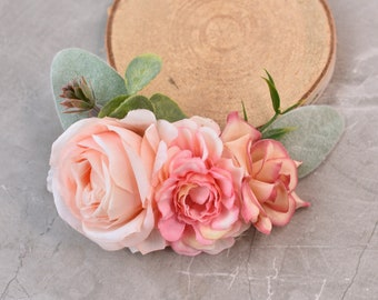Flower Hair Clip in Peach and Blush Pink
