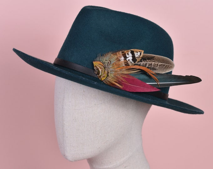 Copper, Green and Crimson Pheasant Feather Hat Pin No.141