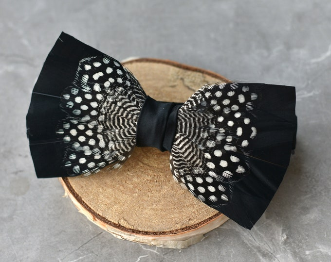 Feather Bow Tie in Black and Polka Dot