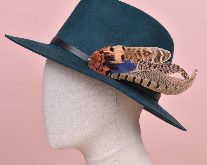 Navy Blue, Copper and Blonde Pheasant Feather Hat Pin /  Lapel Pin No.130