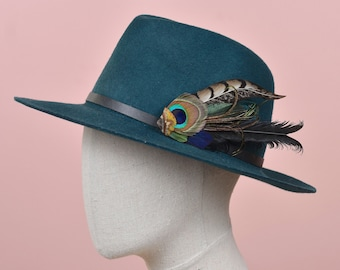 Green and Black Peacock and Pheasant Feather Hat Pin / Lapel Pin No.205