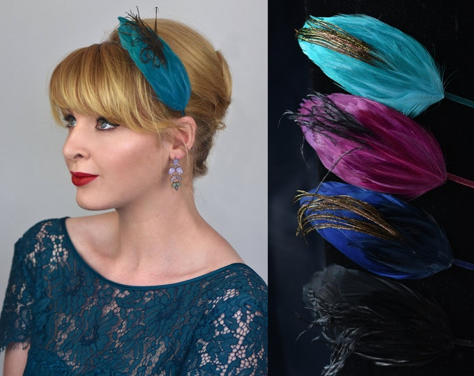 Side Perching Feather Fascinator Headband in Teal, Navy Blue, Plum or Black