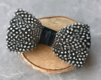 Feather Bow Tie in Polka Dot Monochrome Guinea Fowl