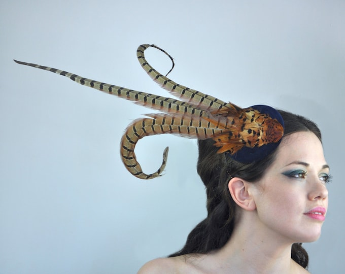 Copper Pheasant Feather Hat with Navy Blue Velvet Base
