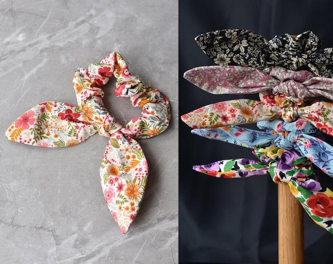 Floral Scrunchie | Scrunchy Hair Tie | Cotton Scrunchies | Floral Print | Satin Scrunchies