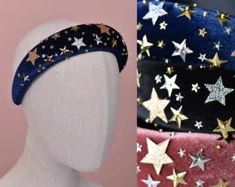 Celestial Padded Velvet Sequin Headband with Gold and Silver Stars in Navy Blue, Black or Dusky Pink