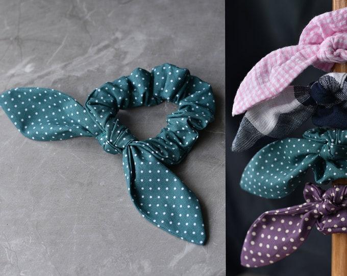 Hair Scrunchie in Polka Dot, Gingham Check, Velvet and Plain | Scrunchy Hair Tie | Cotton Scrunchies | Floral Print | Satin Scrunchies