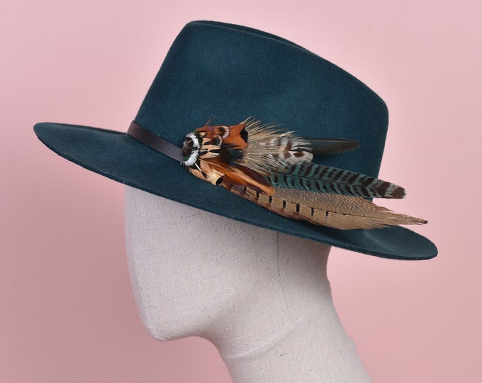 Copper and Green Pheasant Feather Hat Pin No.145
