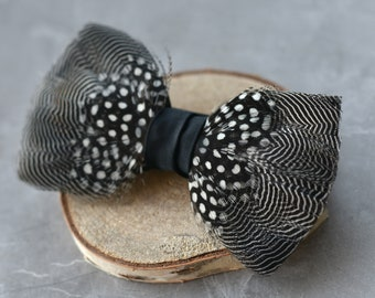 Monochrome Pin Stripe and Polka Dot Duck Feather Bow Tie
