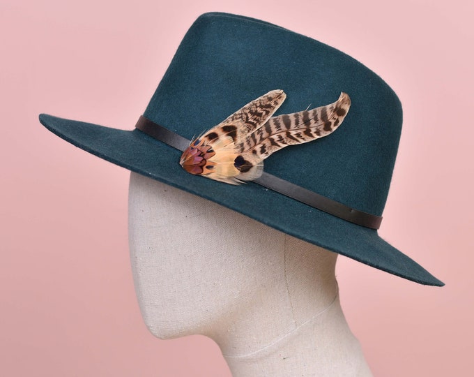 Copper and Blonde Pheasant Feather Hat / Lapel Pin No.132