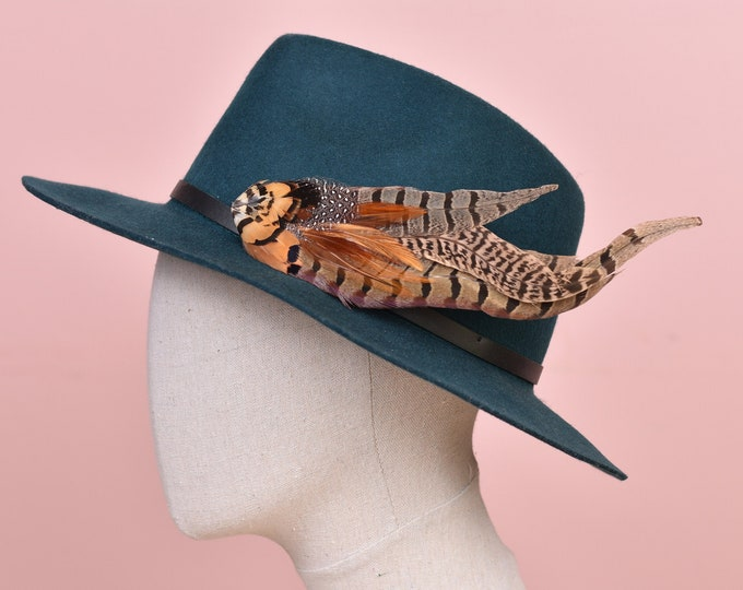 Copper Pheasant Feather Hat Pin No.135