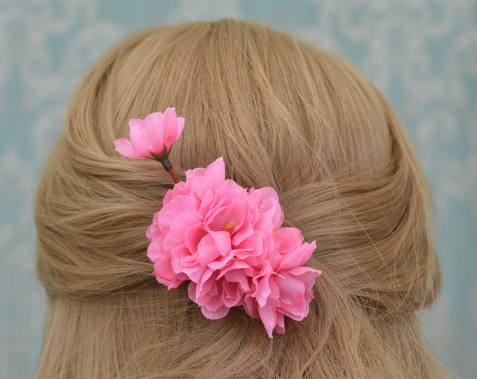 Small Pink Cherry Blossom Hair Clip