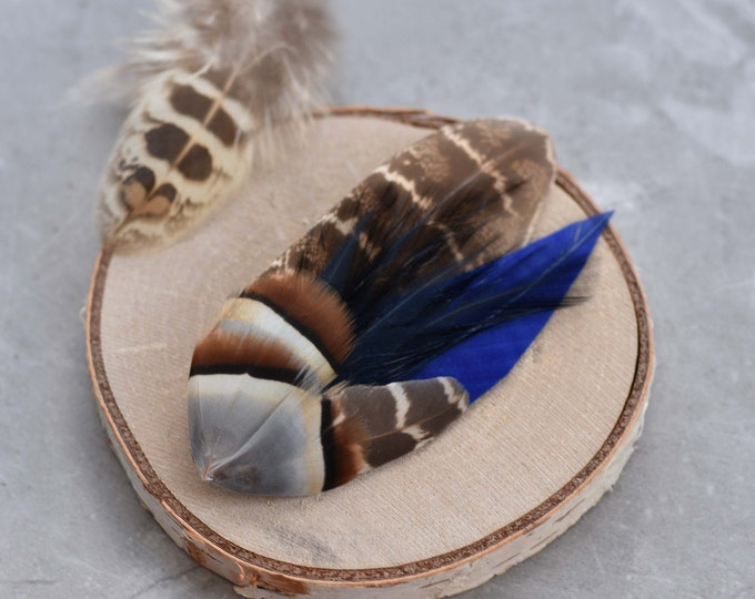 Navy Blue and Pheasant Feather Lapel Pin Small No.71