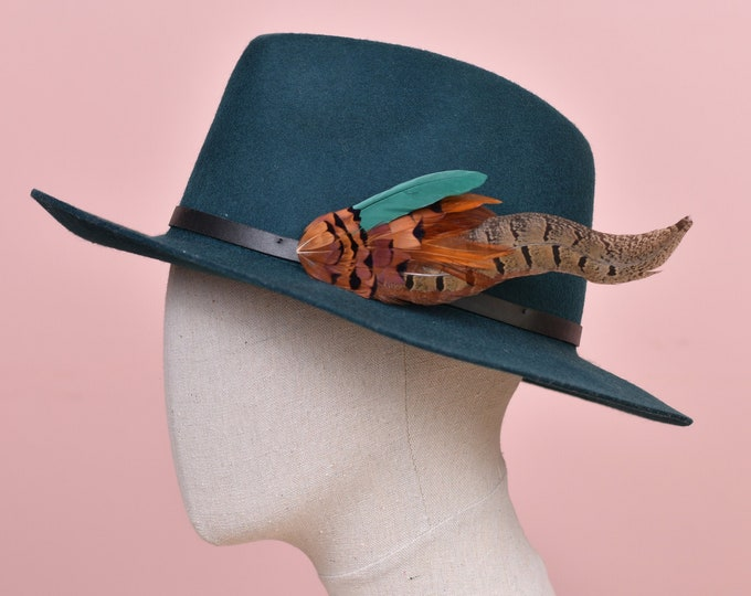 Green and Copper Pheasant Feather Hat Pin /  Lapel Pin No.122