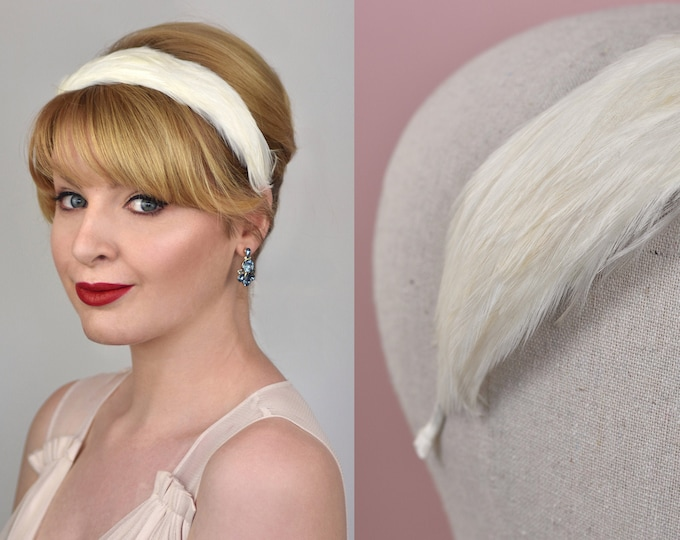 Bridal Ivory Feather Headband