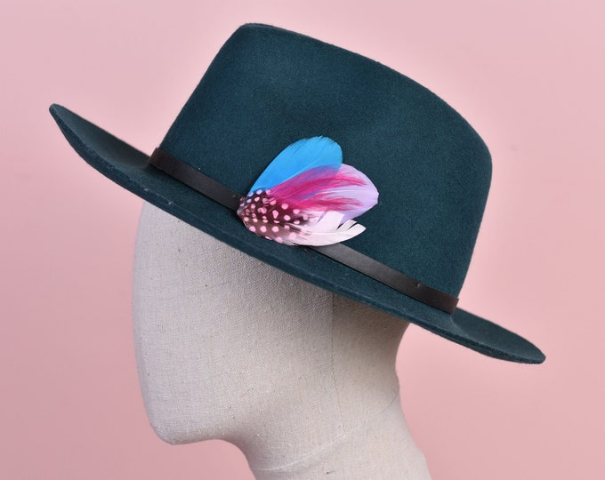 Pink and Turquoise Clip on Feather Hat Pin Small No.103