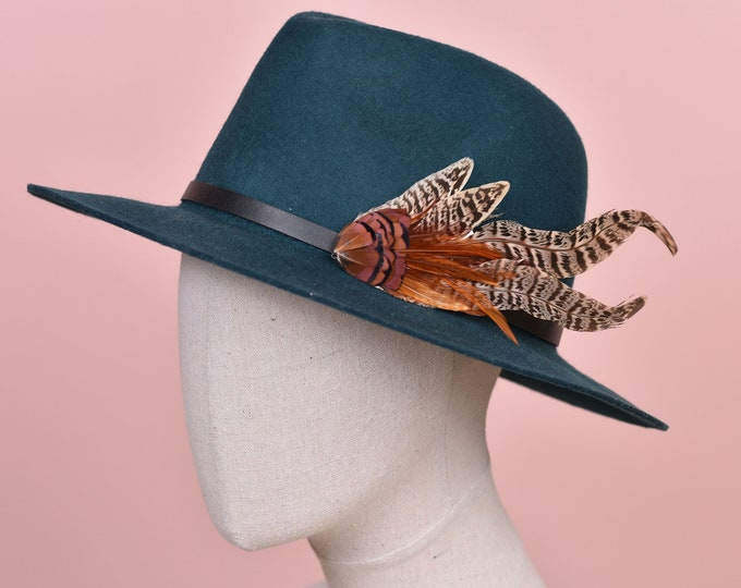 Copper and Blonde Pheasant Clip On Feather Hat Decoration / Pin Small No.137