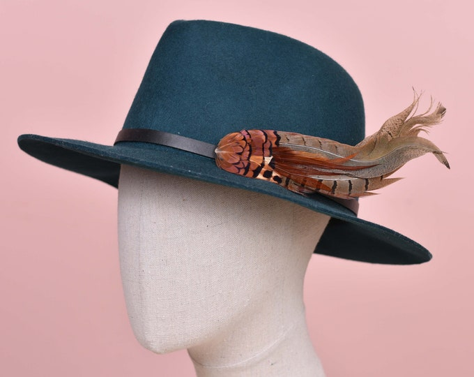 Copper Pheasant Feather Hat Pin /  Lapel Pin No.126