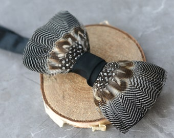 Monochrome Duck Feather Bow Tie No.4