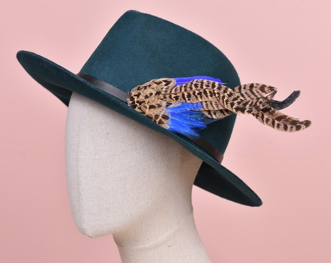 Royal Blue and Blonde Pheasant Feather Hat Pin /  Lapel Pin No.123