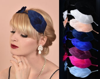 Double Wing Goose Feather Halo Headband in Blue, Pink, White, Black and Purple