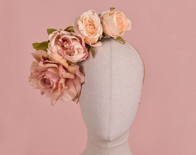 Side Perched Peony and Roses Blush Pink Headpiece