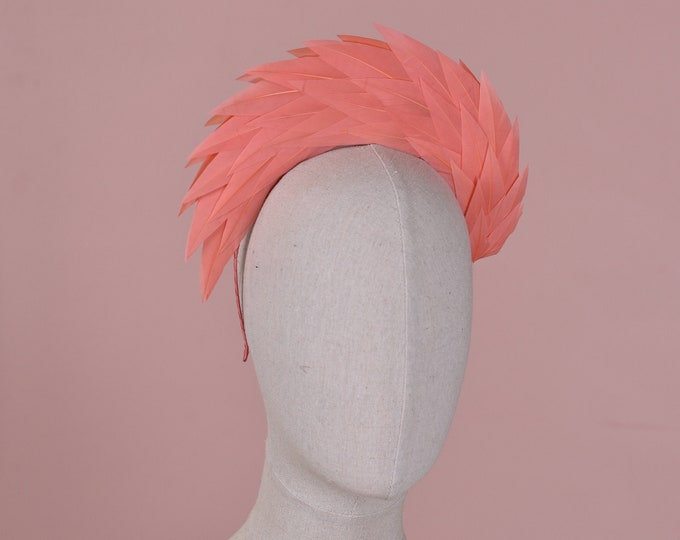 Vintage Coral Pink Spiked Feather Halo Headband