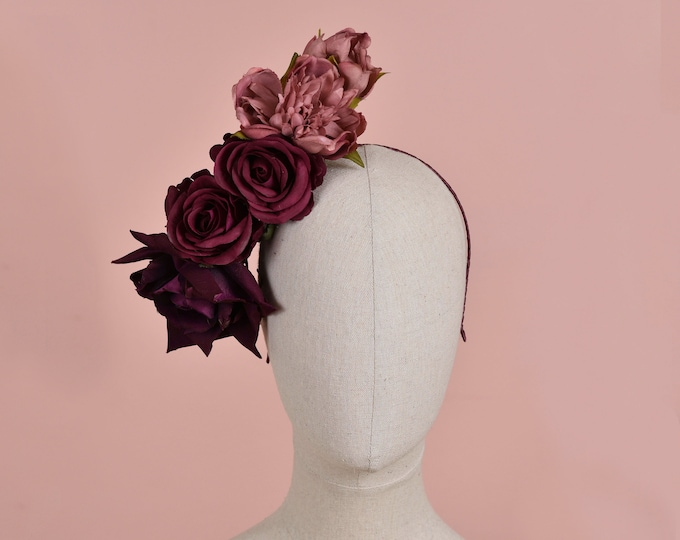 Sculptural Floating Ombre Plum and Mauve Flower Headpiece