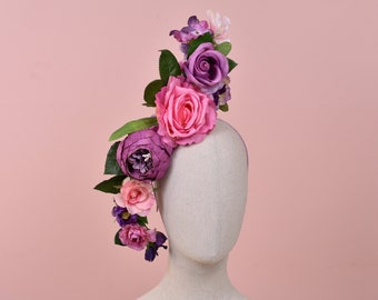 Sculptural Pink and Purple Roses Headpiece