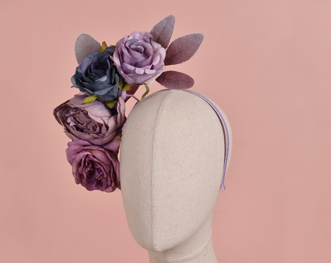 Floating Flower Headpiece in Navy Blue and Purple