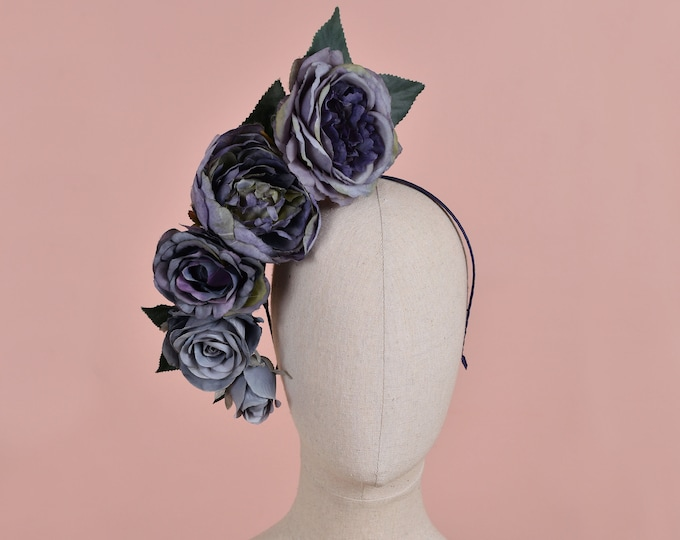 Sculptural Floating Flower Headpiece in Shades of Blue
