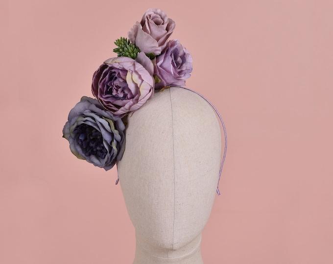 Sculptural Flower Headpiece in Blue and Lavender Purple