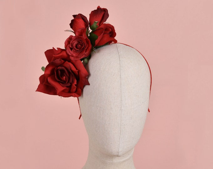 Side Perching Red Roses Headpiece