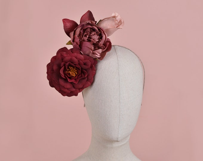 Side Perching Ombre Burgundy and Mauve Flower Headpiece
