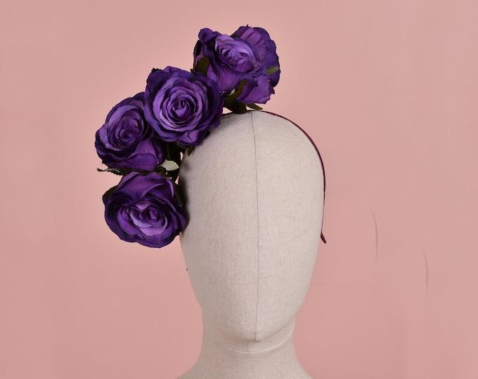 Royal Purple Floating Rose Headpiece
