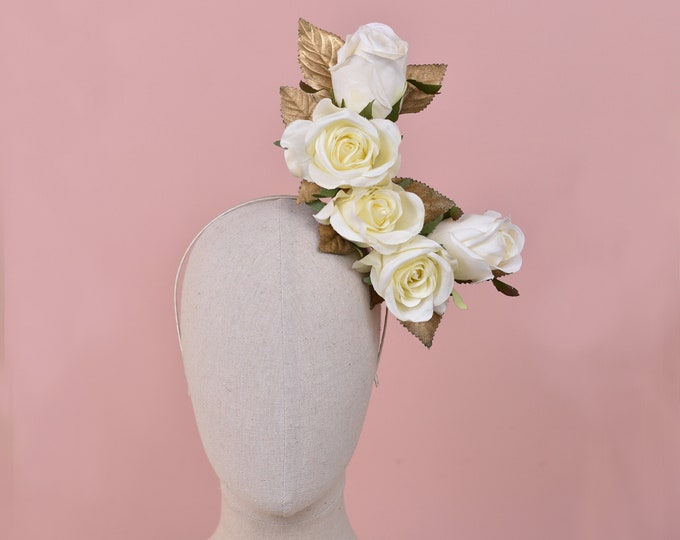 Crescent Moon Floating Ivory and Gold Roses Headpiece