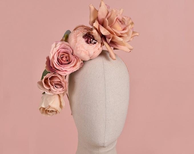Floating Blush Pink Roses Headpiece