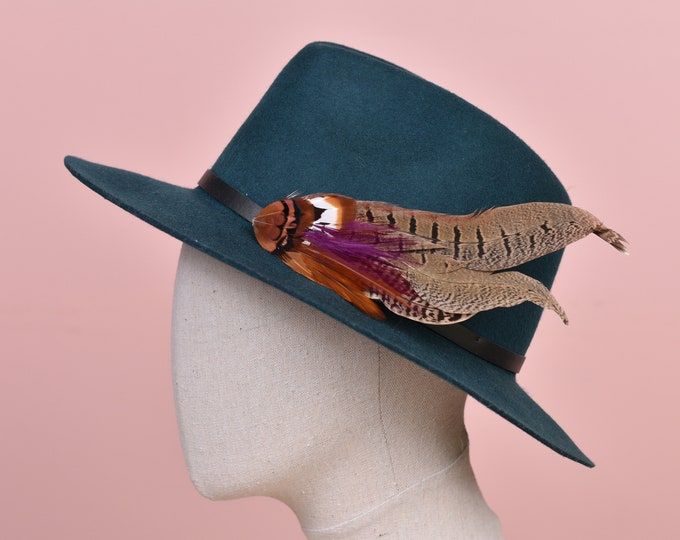 Plum and Copper Pheasant Feather Hat Pin /  Lapel Pin No.119