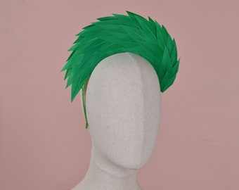 Kelly Green Spiked Feather Halo Headband