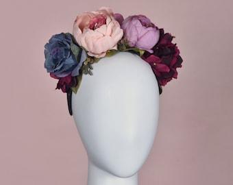 Purple, Pink and Blue Flower Crown Headpiece